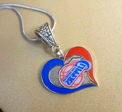 los angeles clippers nba heart pendant w