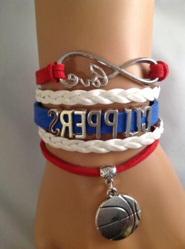 Los Angeles Clippers Charm Bracelet Basketball Suede Quality