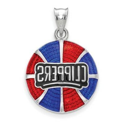 sterling silver los angeles clippers basketball enameled