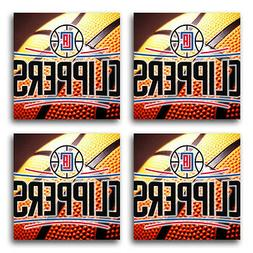 Los Angeles Clippers Basketball Rubber Square Coaster set  S
