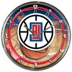 Los Angeles Clippers Chrome Round Wall Clock  NBA Sign Banne