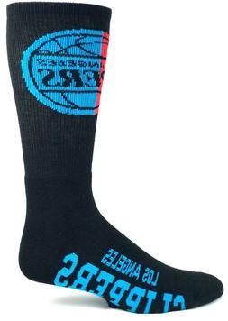 Los Angeles Clippers NBA Crew Socks Black Neon Blue and Red