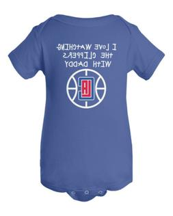 Los Angeles Clippers Watching With Daddy Baby Short Sleeve B