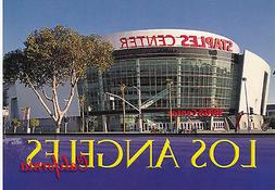LOS ANGELES LAKERS CLIPPERS STAPLES CENTER POSTCARD -FACADE
