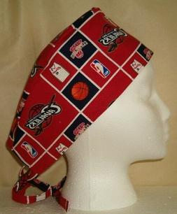 Surgical Scrub Hat Cap Made with NBA Teams Fabrics You Pick